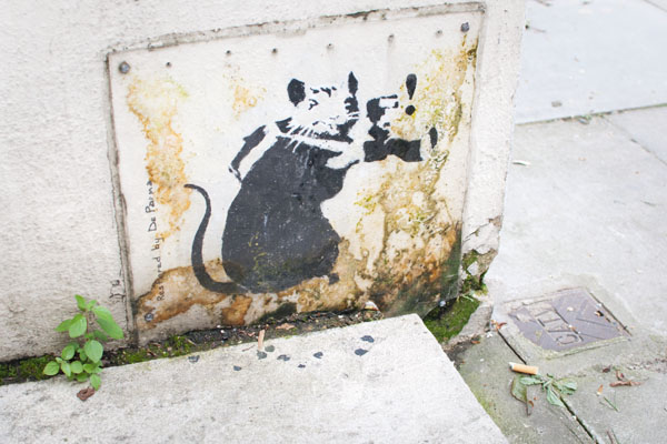 Pochoir rat de Banksy à Londres