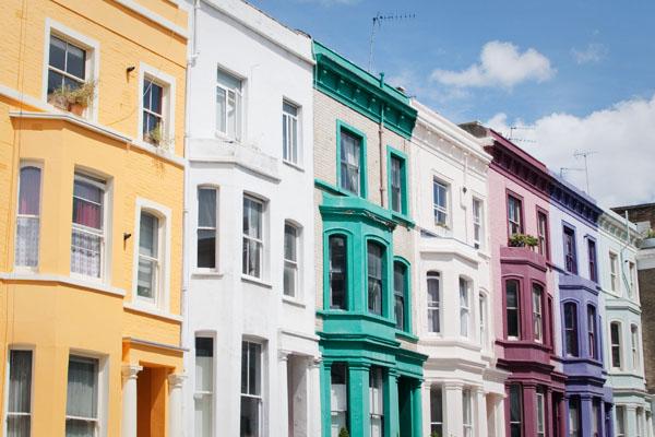 Maisons colorées de Notting Hill