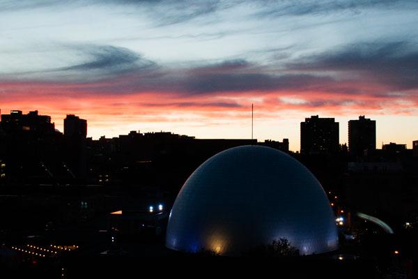 Coucher du soleil depuis l'hotel Zéro 1 Montréal