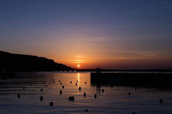 Coucher du soleil à Port-en-Bessin-Huppain