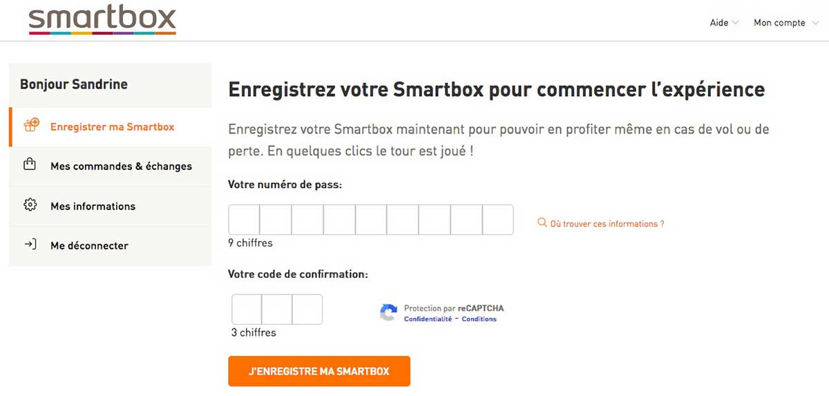 Smartbox - Enregistrement du pass évasion