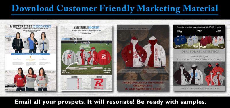 Reversible sweatshirts marketing material