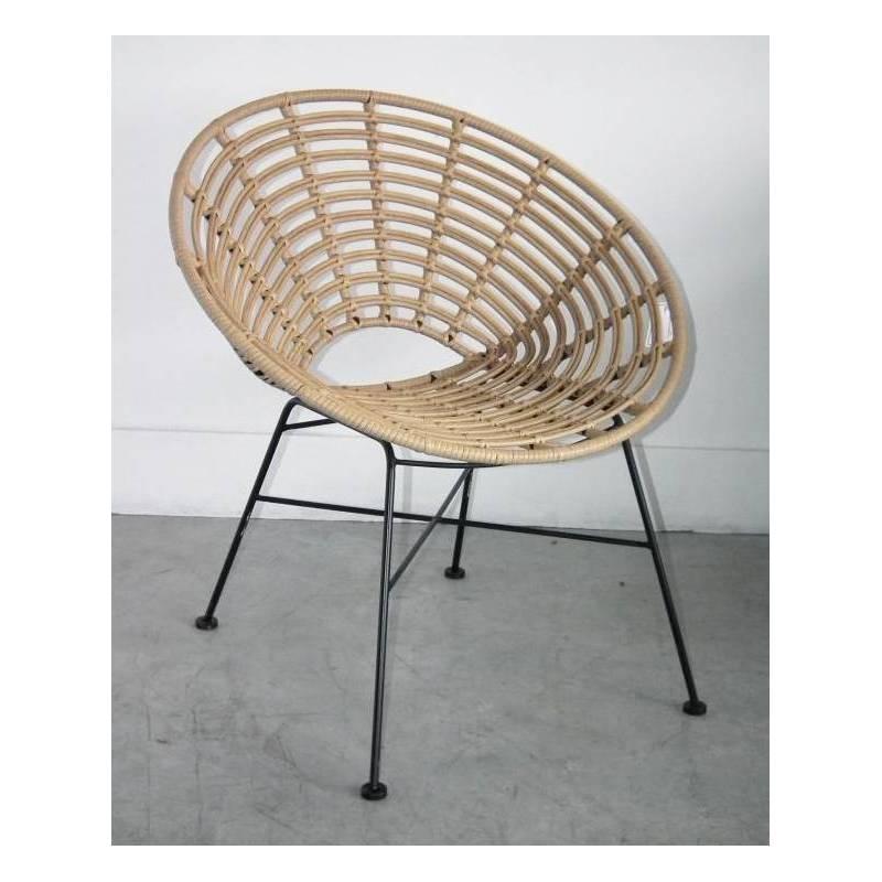 fauteuil toma marque hanjel siege de salon facon chaise en rotin en acier et plastique 63x73x77cm