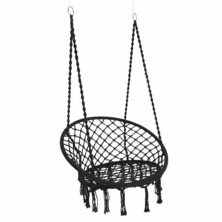 fauteuil suspendu coton noir siege a suspendre chaise hamac balancelle 82x82x123cm