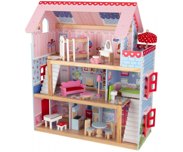 jouets maison de poupee en bois chelsea cottage kidkraft