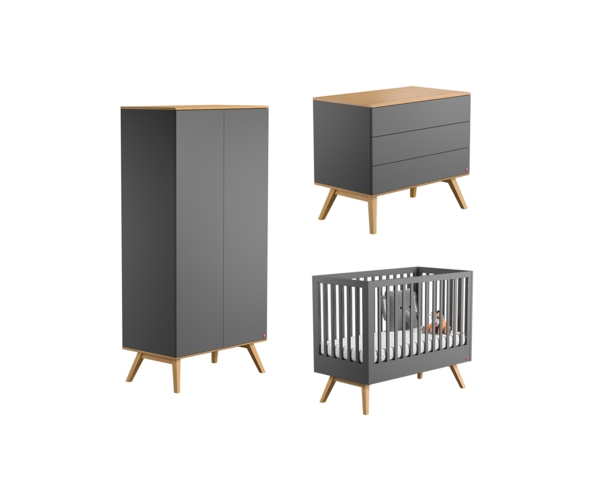pack trio chambre complete nature lit bebe 60 x 120 commode a langer armoire gris