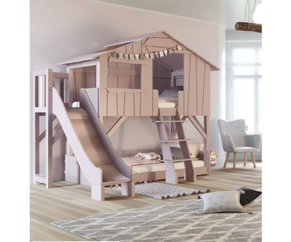 lit cabane superpose avec toboggan et plateforme mathy by bols 90x190 cm rose hiver
