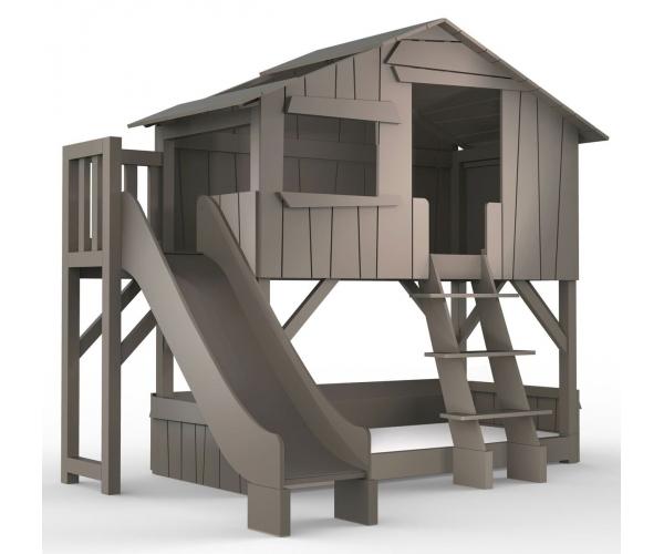 lit cabane superpose avec toboggan et plateforme mathy by bols 90x190 cm lin