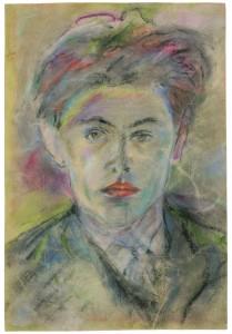 Aus der Münsteraner Ausstellung (siehe Hinweis am Ende des Beitrags): Ernst Meister, Selbstporträt o. J., Pastell ung Kohle auf Papier (Foto: LWL)