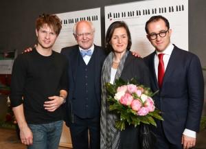 Von links: Krzysztof Urbánski, Franz Xaver Ohnesorg, Traudl Herrhausen, Igor Levit. Foto: Wieler