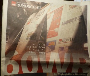 Das schienen noch Zeiten zu sein: Titelblatt-Ausriss einer umfangreichen Sonderbeilage zum 60jährigen Bestehen der Westfälischen Rundschau.