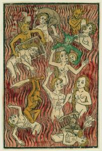 Hier geht's heiß her: Was dem Sünder im Fegefeuer droht, zeigt dieser Holzschnitt aus dem 15. Jahrhundert. Der Geizhals schluckt Gold, den Zornigen trifft das Schwert, und die Wollüstige beißt eine Schlange. Foto: Kunsthaus Zürich