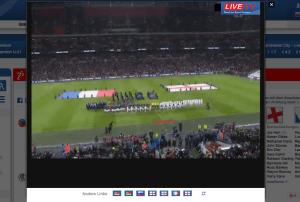 Screenshot vom Spiel England - Frankreich im Wembley-Stadion.