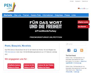 Screenshot der Internetseite des deutschen PEN.