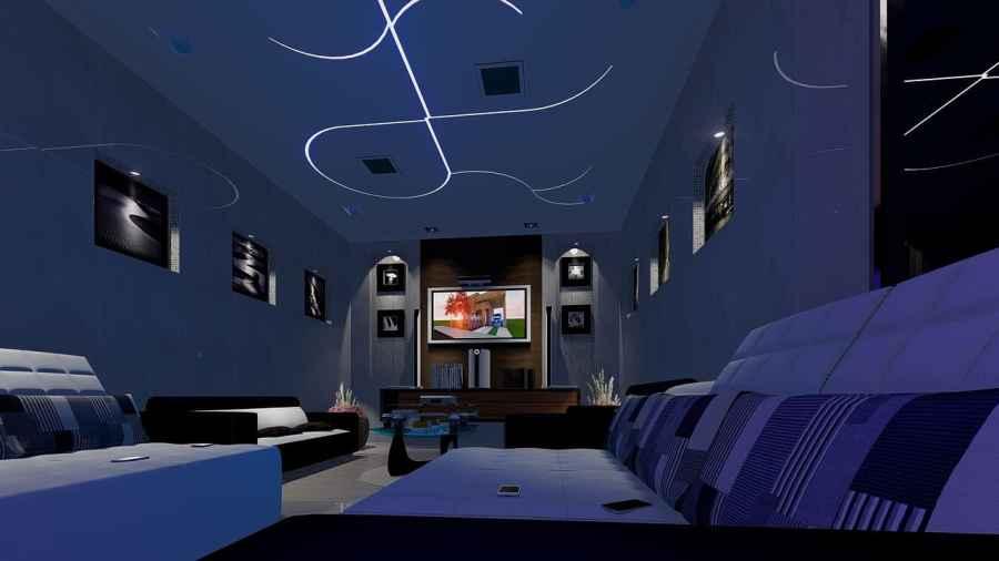 Uma sala decorada com fita de led no teto.