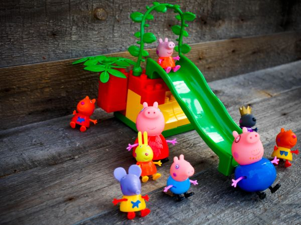 SEVASTOPOL, RUSSIA – on  APRIL 02,2016: Figure of families pig of Peppy and her friends  from Pig Pepa from Astley Baker Davies / Entertainment One UK animations