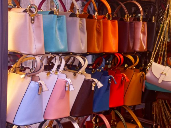 Womens handbags on an outdoor display in Venice, Italy