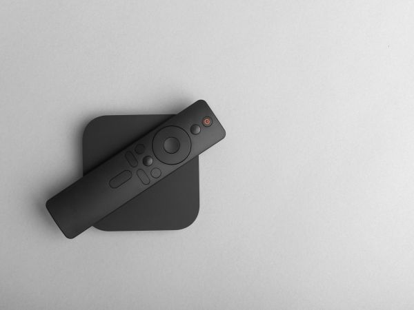 TV set-top box for ip tv and digital video content on a gray background. Digital TV on gray background.