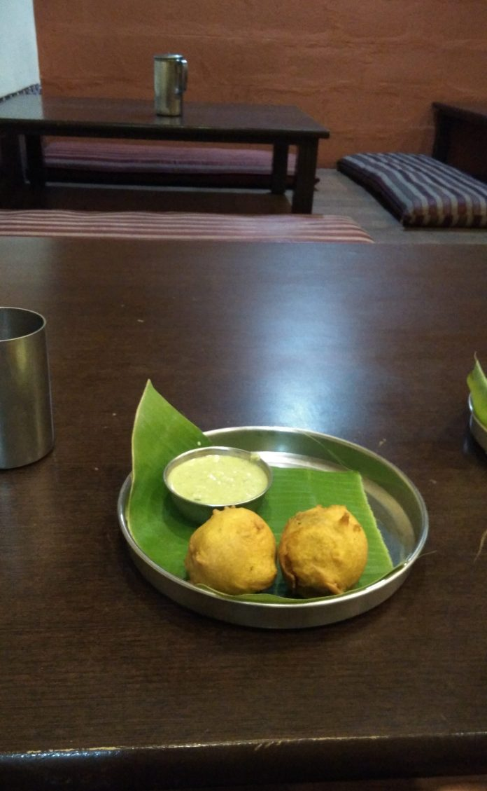 Aloo Bonda with Chutney @ New Madhura Bhavan, Jayanagar 8th Block