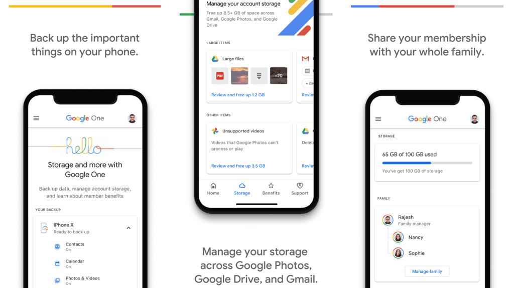 Ứng dụng Google One với các tùy chọn quản lý và chia sẻ bộ nhớ