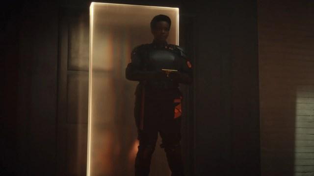 B-15 standing in front of a door