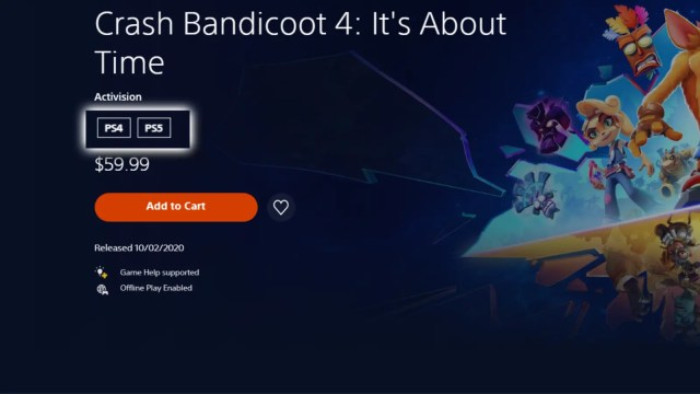 PlayStation 5 'Crash Bandicoot 4: It's About Time' store page with the platforms section highlighted