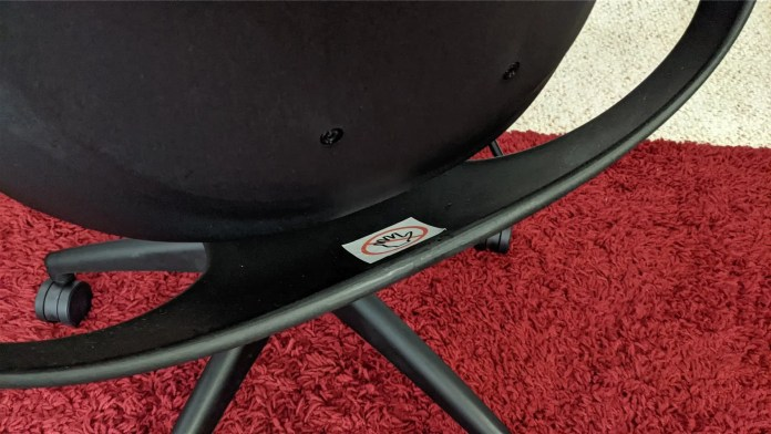 An image of the back of the chair showing where the smaller portion rocks