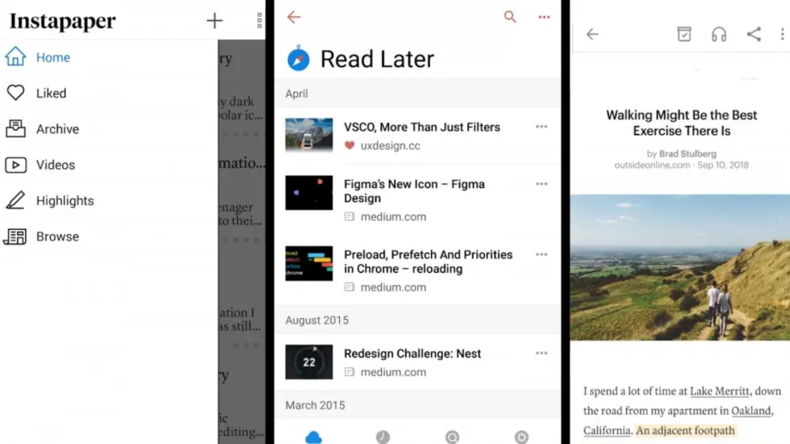 Screenshots of Instapaper, Raindrop.io, and Pocket in a collage