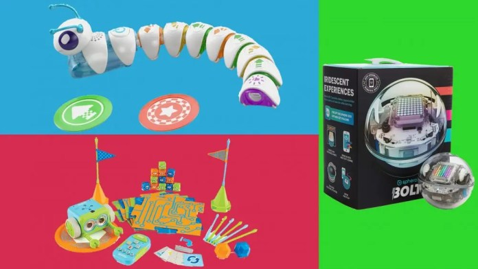 Three fun coding toys: the Code-a-Pillar, Botley the Coding Robot, and Sphero BOLT on tri-color background