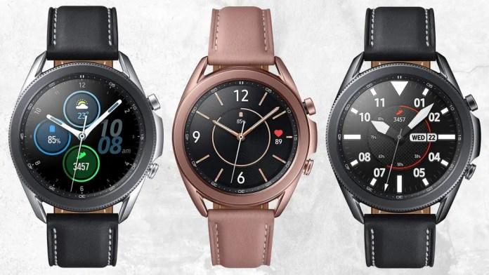 Three Samsung Galaxy Watch 3 models against white grunge wall background