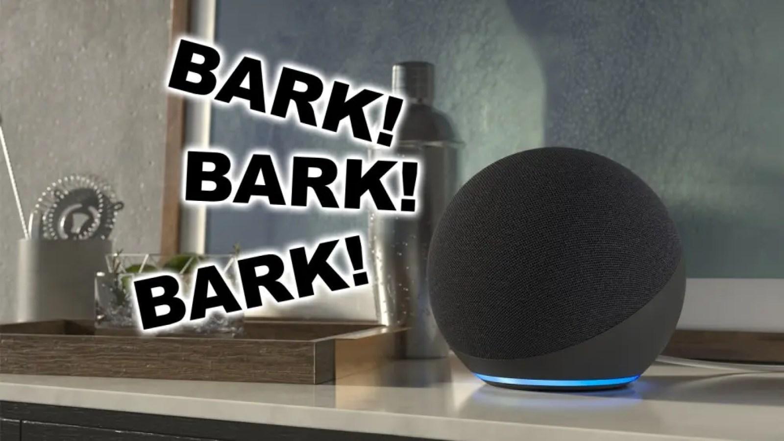 An illustration of the Echo smart speaker barking like a watchdog.