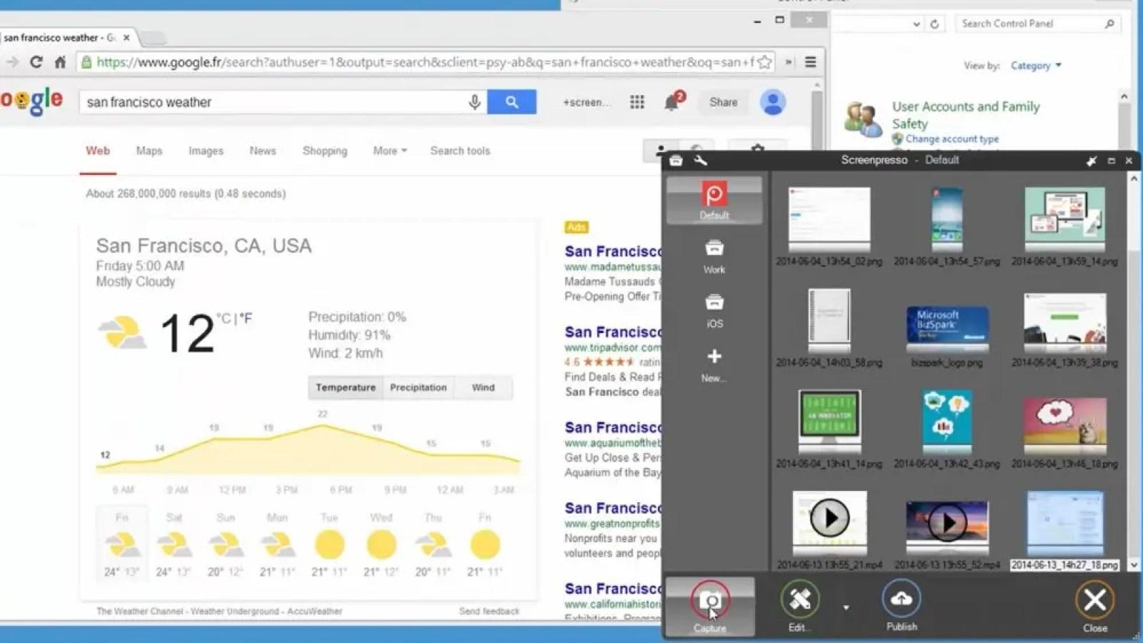 Screenpresso screenshot tool capturing and editing a web page