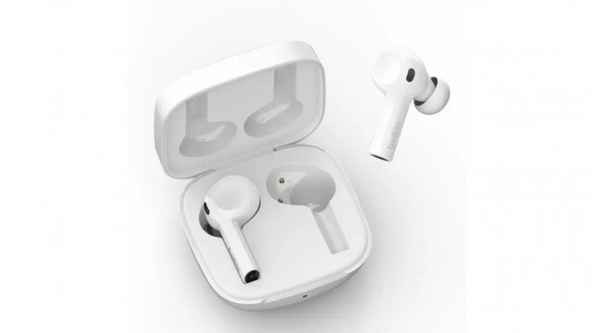 A photo of the Belkin Soundform Freedom wireless earbuds.
