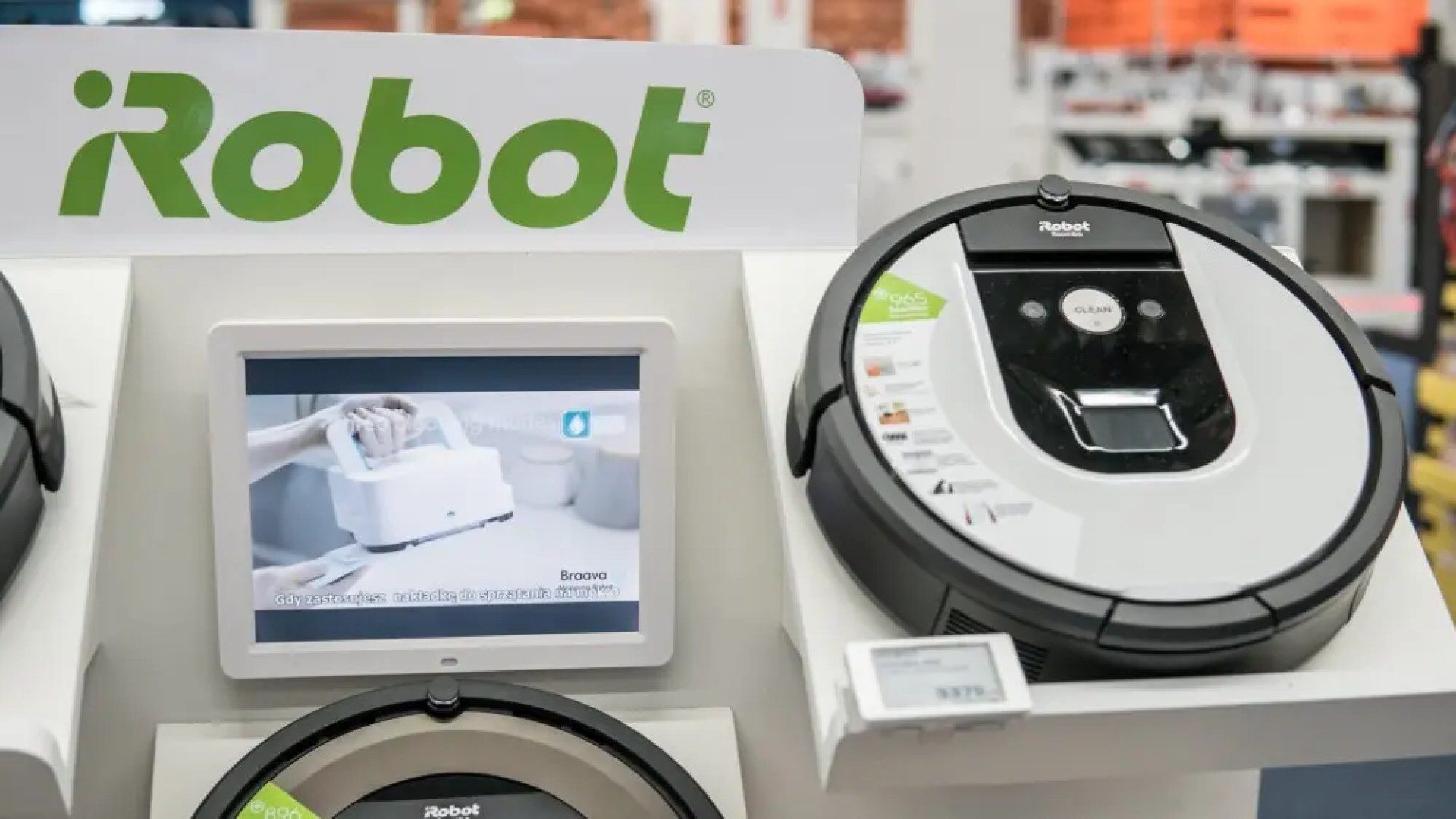 iRobot vacuums on display in a store
