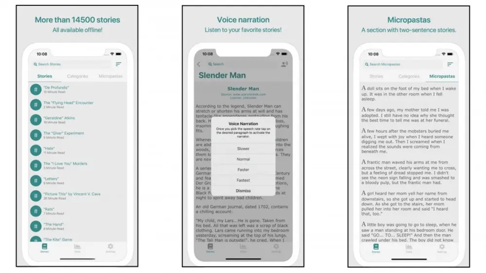 Creepypasta app with urban legend fiction scary stories