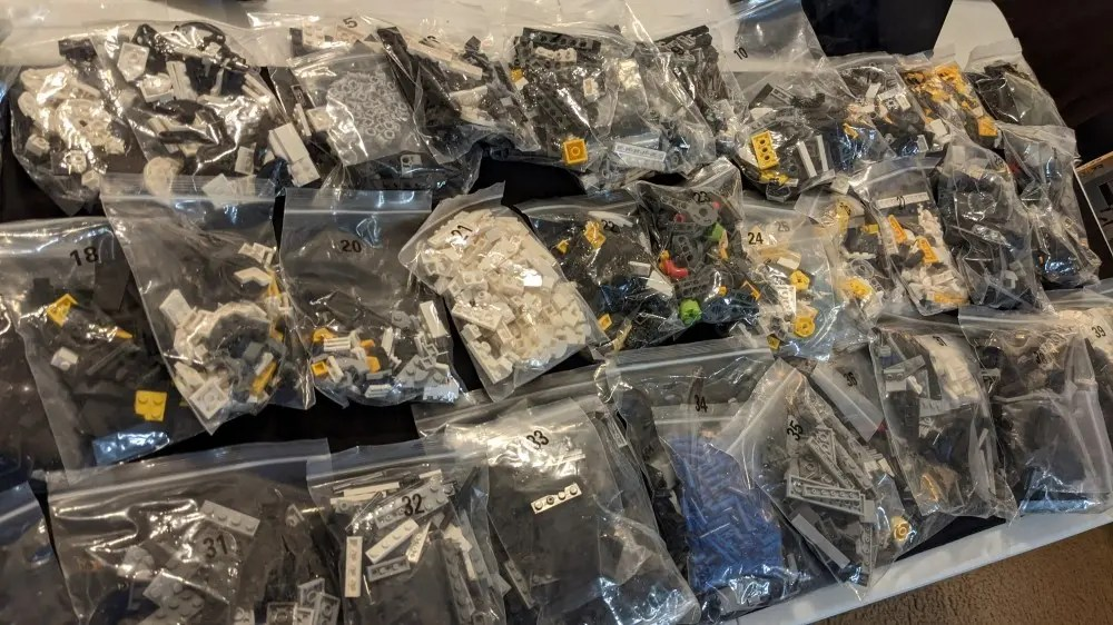 LEGO pieces in bags