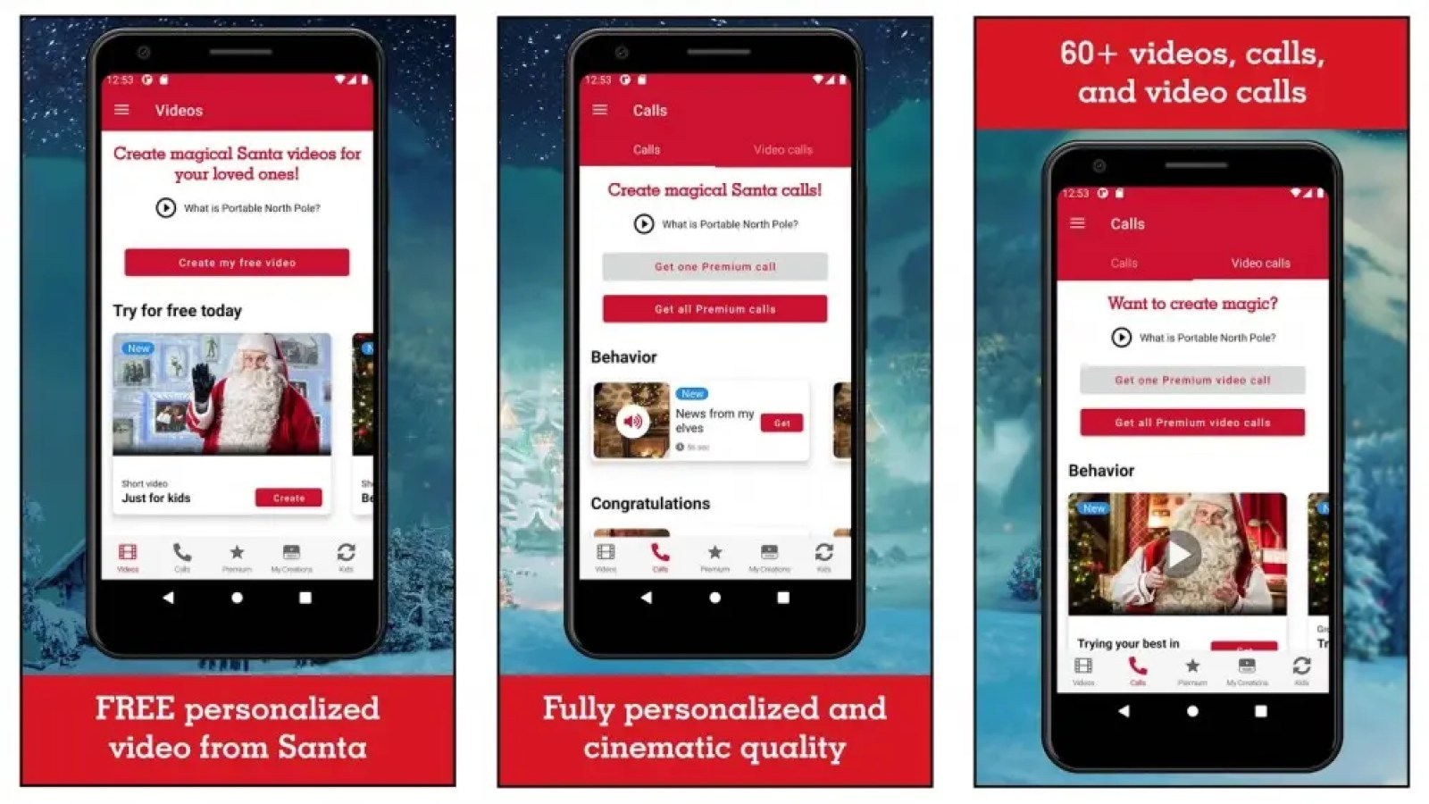 Portable North Pole app with video, call, and other options