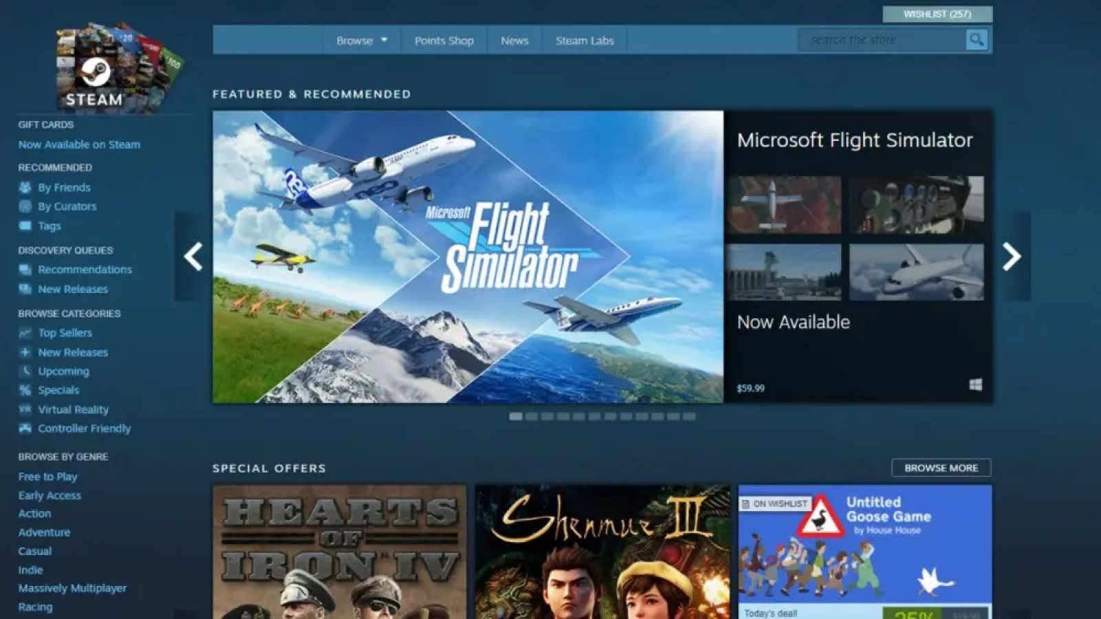 Steam storefront homepage