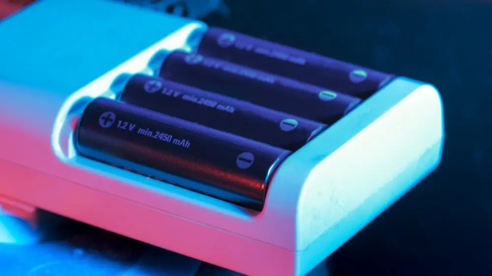 Rechargeable AA battery being charged