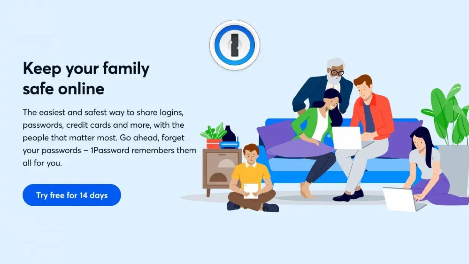 An illustration of a family using 1Password.