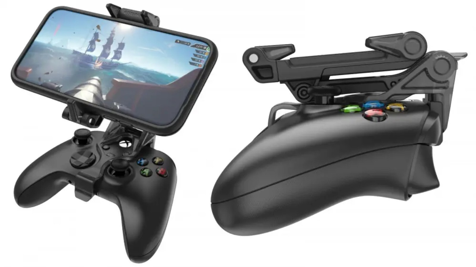 OtterBox Mobile Gaming Clip with phone attached, and again with the clip collapsed
