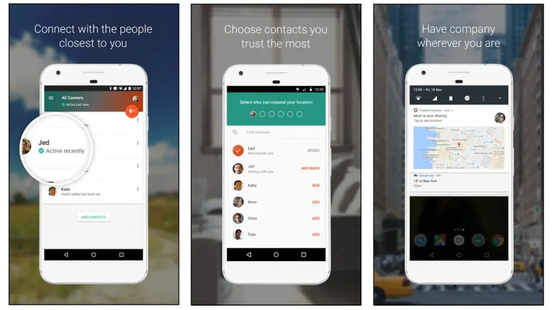 Trusted Contacts location sharing app for trusted family and friends