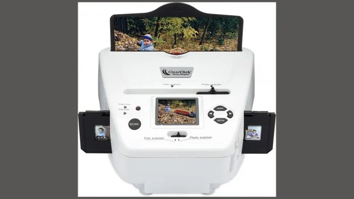 ClearClick Scanner with loaded media against white background