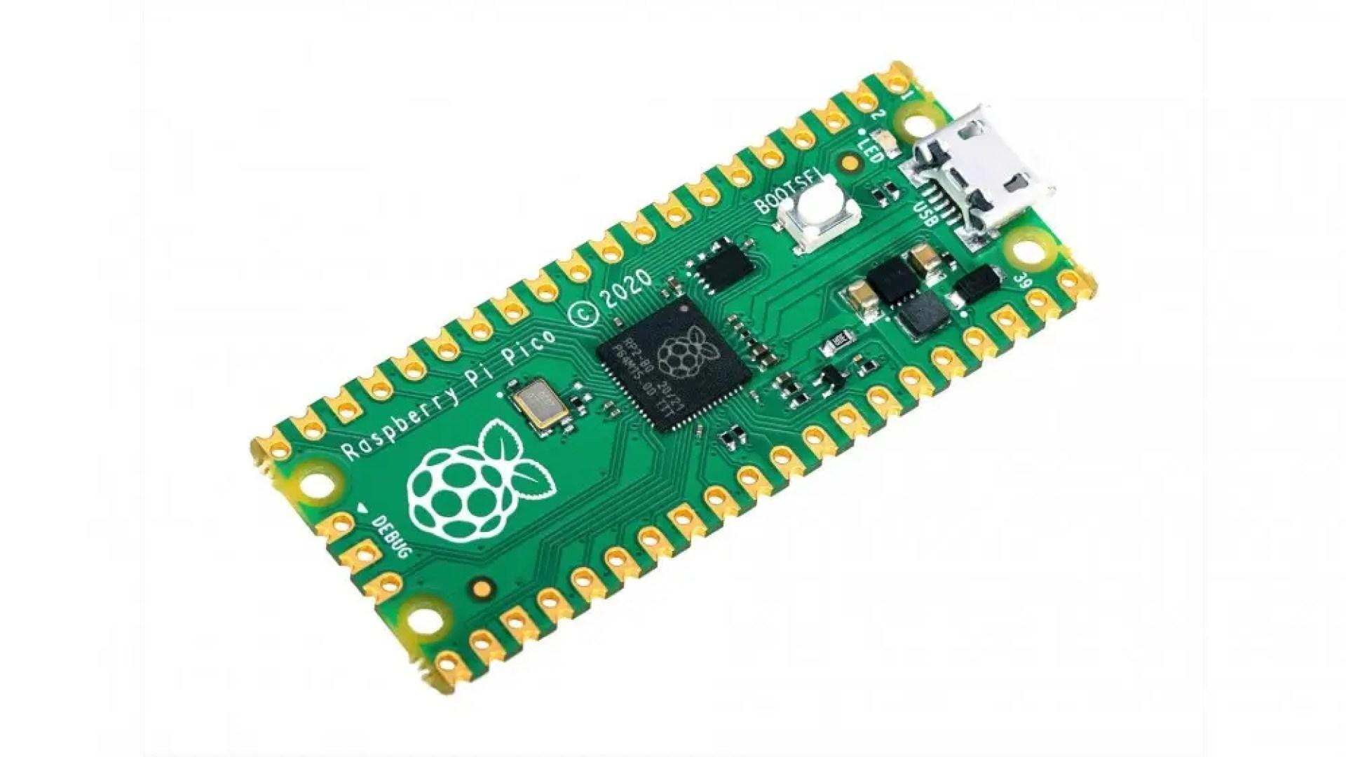 A Raspberry Pi Pico against a white background.