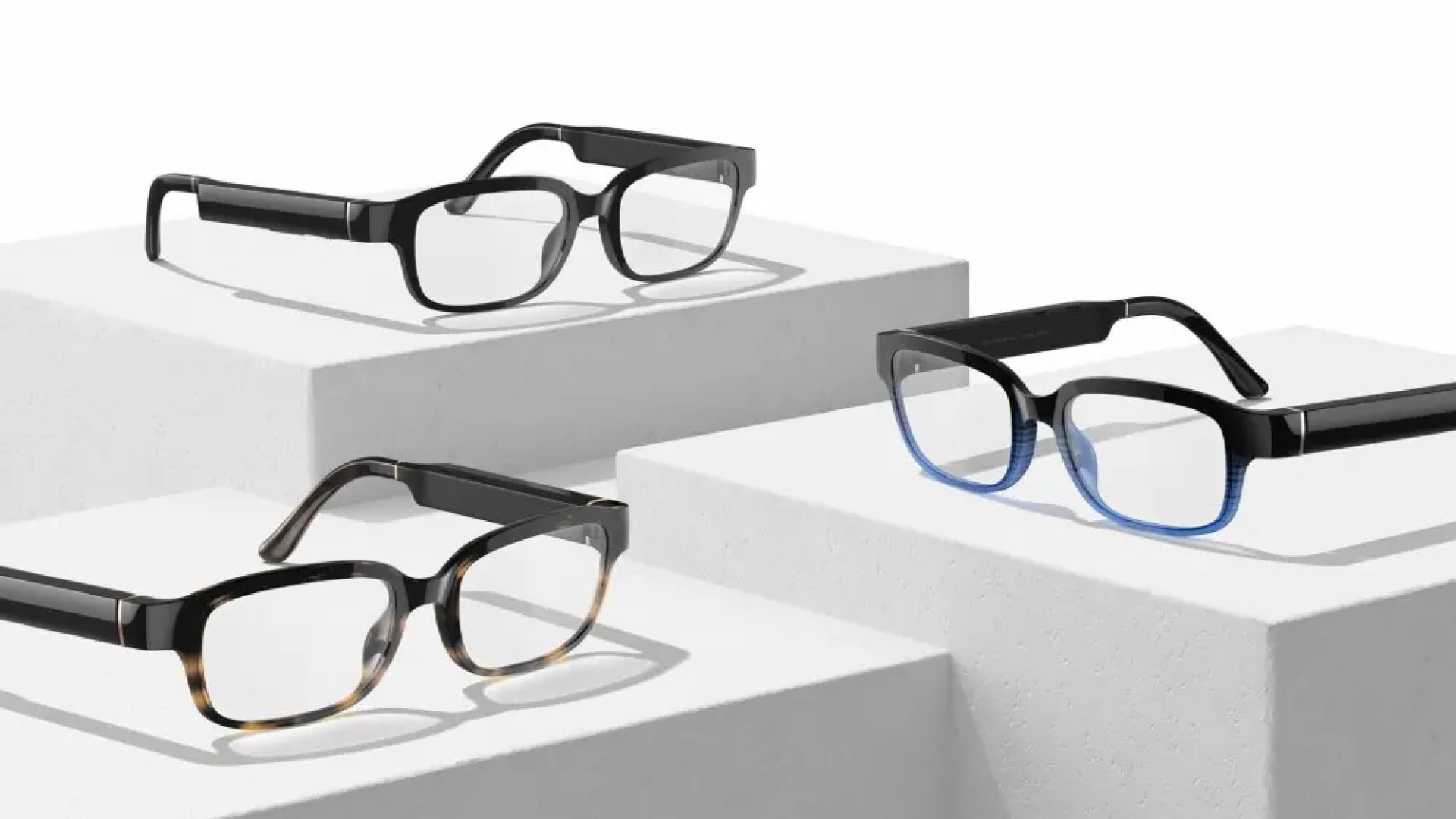 A photo of the Echo Frames smart glasses in three colors.