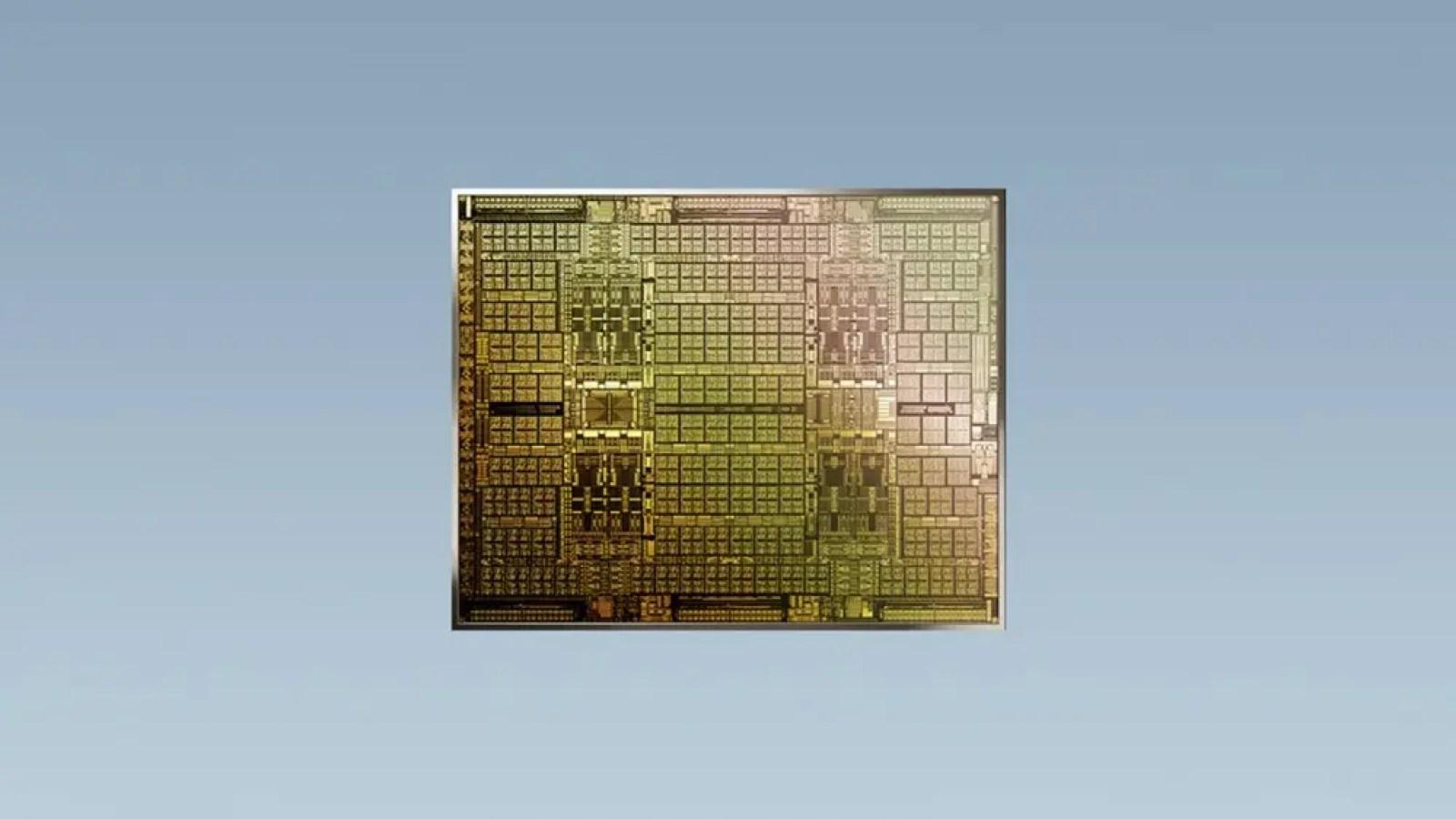 A CMP chip against a blue background.