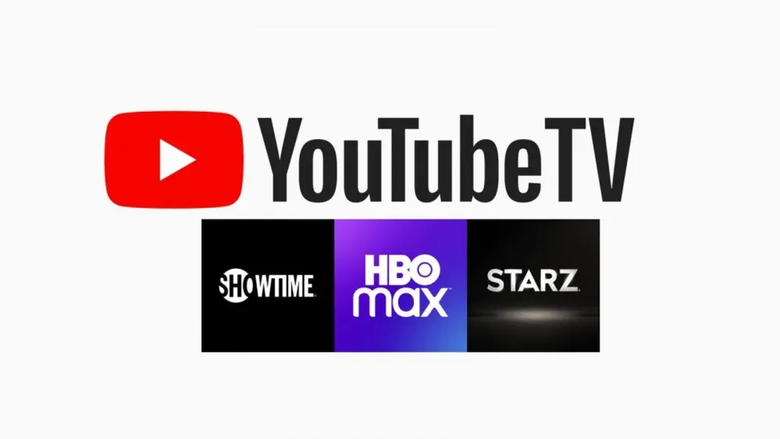 The YouTube TV logo over the Showtime, HBO max, and Starz logos.