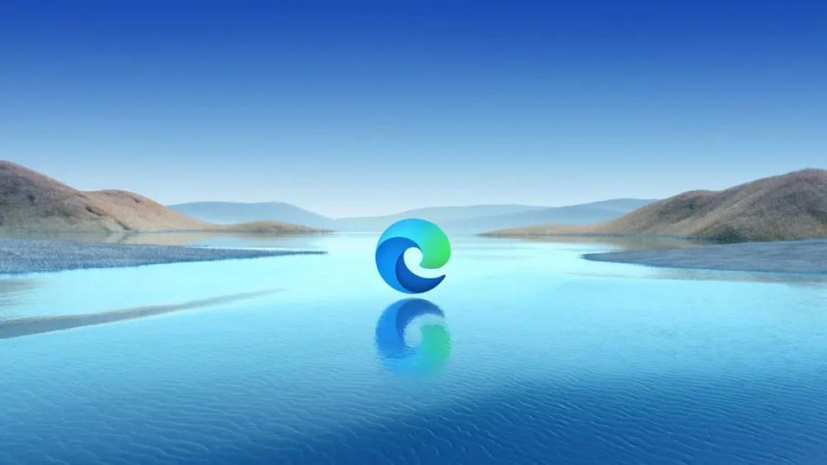 Логотип Microsoft Edge, плавающий над озером.
