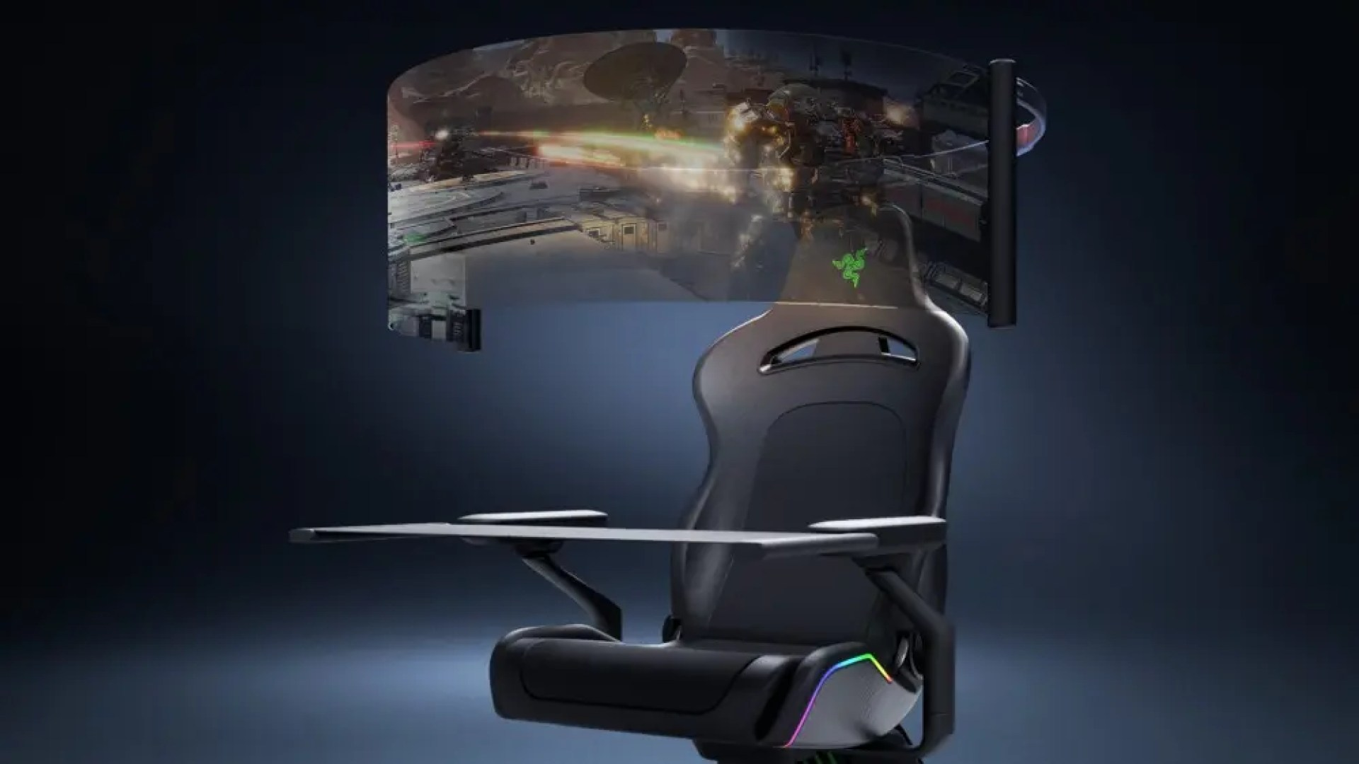 Project Brooklyn gaming chair and OLED screen.