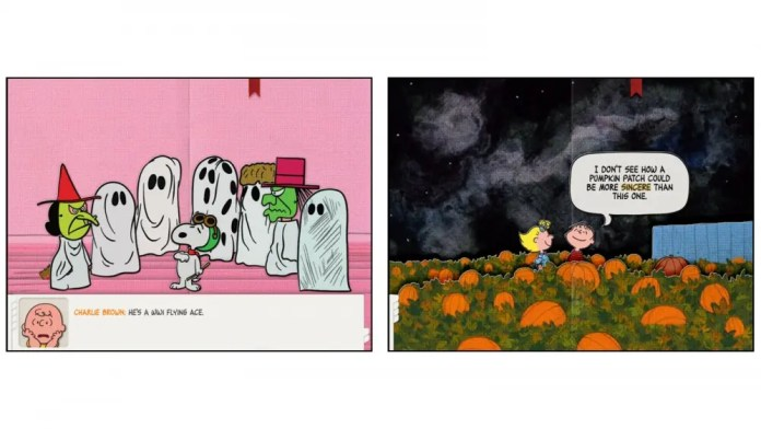 It's the Great Pumpkin, Charlie Brown interactive app for your kids comic panels